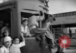 Image of civilians wait for streetcar Hiroshima Japan, 1946, second 39 stock footage video 65675072450