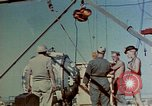 Image of Hoisting of Gadget atomic bomb before Trinity nuclear test Alamogordo New Mexico USA, 1945, second 21 stock footage video 65675072463