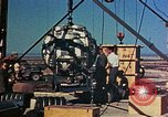 Image of Hoisting of Gadget atomic bomb before Trinity nuclear test Alamogordo New Mexico USA, 1945, second 43 stock footage video 65675072463