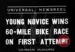 Image of 60 mile bicycle race Chicago Illinois USA, 1936, second 2 stock footage video 65675072520