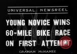 Image of 60 mile bicycle race Chicago Illinois USA, 1936, second 4 stock footage video 65675072520