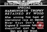 Image of speedboat racing Detroit Michigan USA, 1931, second 4 stock footage video 65675073336