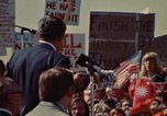 Image of Richard Nixon speaks to automobile workers during energy crisis Saginaw Michigan USA, 1974, second 10 stock footage video 65675073721
