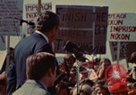 Image of Richard Nixon speaks to automobile workers during energy crisis Saginaw Michigan USA, 1974, second 26 stock footage video 65675073721