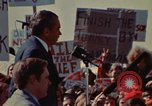 Image of Richard Nixon speaks to automobile workers during energy crisis Saginaw Michigan USA, 1974, second 51 stock footage video 65675073721