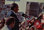 Image of Richard Nixon speaks to automobile workers during energy crisis Saginaw Michigan USA, 1974, second 54 stock footage video 65675073721