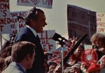 Image of Richard Nixon speaks to automobile workers during energy crisis Saginaw Michigan USA, 1974, second 56 stock footage video 65675073721