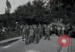 Image of German civilians, soldiers and released Allied prisoners cross bridge Grimma Germany, 1945, second 62 stock footage video 65675073902