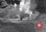 Image of United States M-4 tank on fire Wegscheid Germany, 1945, second 18 stock footage video 65675075890