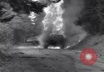 Image of United States M-4 tank on fire Wegscheid Germany, 1945, second 22 stock footage video 65675075890