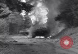 Image of United States M-4 tank on fire Wegscheid Germany, 1945, second 24 stock footage video 65675075890