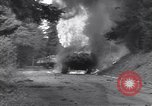 Image of United States M-4 tank on fire Wegscheid Germany, 1945, second 25 stock footage video 65675075890