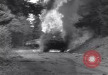 Image of United States M-4 tank on fire Wegscheid Germany, 1945, second 26 stock footage video 65675075890
