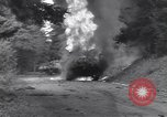 Image of United States M-4 tank on fire Wegscheid Germany, 1945, second 27 stock footage video 65675075890