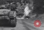 Image of United States M-4 tank on fire Wegscheid Germany, 1945, second 30 stock footage video 65675075890