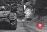 Image of United States M-4 tank on fire Wegscheid Germany, 1945, second 31 stock footage video 65675075890