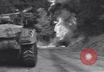 Image of United States M-4 tank on fire Wegscheid Germany, 1945, second 32 stock footage video 65675075890