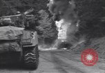 Image of United States M-4 tank on fire Wegscheid Germany, 1945, second 33 stock footage video 65675075890
