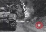 Image of United States M-4 tank on fire Wegscheid Germany, 1945, second 34 stock footage video 65675075890