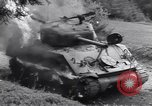 Image of United States M-4 tank on fire Wegscheid Germany, 1945, second 36 stock footage video 65675075890