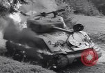 Image of United States M-4 tank on fire Wegscheid Germany, 1945, second 37 stock footage video 65675075890
