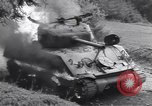Image of United States M-4 tank on fire Wegscheid Germany, 1945, second 38 stock footage video 65675075890