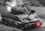 Image of United States M-4 tank on fire Wegscheid Germany, 1945, second 39 stock footage video 65675075890