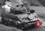 Image of United States M-4 tank on fire Wegscheid Germany, 1945, second 40 stock footage video 65675075890