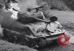 Image of United States M-4 tank on fire Wegscheid Germany, 1945, second 41 stock footage video 65675075890