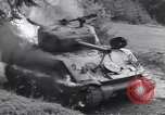 Image of United States M-4 tank on fire Wegscheid Germany, 1945, second 43 stock footage video 65675075890