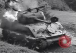Image of United States M-4 tank on fire Wegscheid Germany, 1945, second 46 stock footage video 65675075890