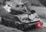 Image of United States M-4 tank on fire Wegscheid Germany, 1945, second 47 stock footage video 65675075890