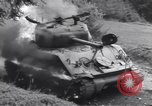 Image of United States M-4 tank on fire Wegscheid Germany, 1945, second 48 stock footage video 65675075890