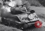 Image of United States M-4 tank on fire Wegscheid Germany, 1945, second 49 stock footage video 65675075890