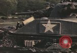 Image of U.S. troops ride on tanks crossing a stream Germany, 1945, second 40 stock footage video 65675076625